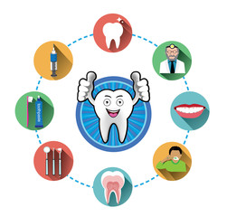 Cartoon Smiling tooth and modern flat dental icons set