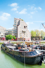 "The historical ""Oude Haven"" and a boat, Rotterdam"