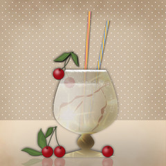 Drink for party with cherry on retro background
