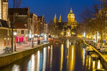Printed kitchen splashbacks Amsterdam Amsterdam at night