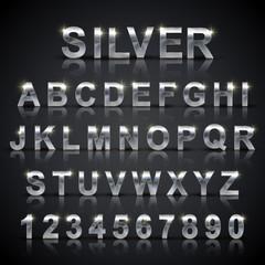 glossy silver font design set