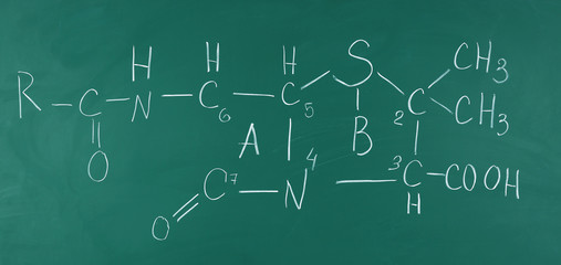Molecule models and formulas on blackboard background