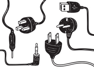 set of plug in socket in doodle style