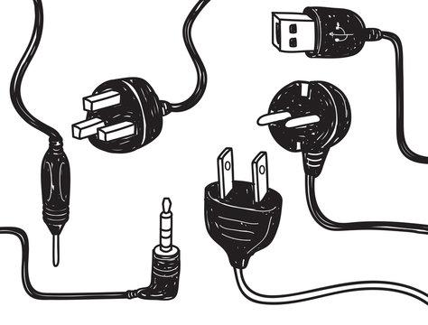 set of plug in socket in doodle style