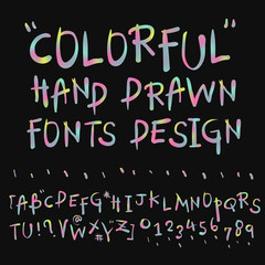 colorful hand drawn fonts design