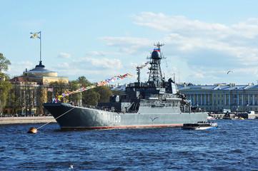 SAINT-PETERSBURG, RUSSIA: - MAY 9, 2015: The parade of warships