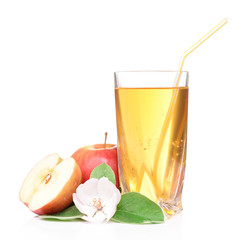 Glass of apple juice and apples, isolated on white