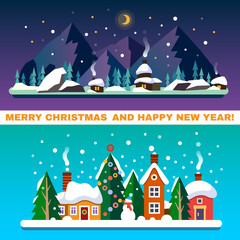 New Year and Christmas landscapes