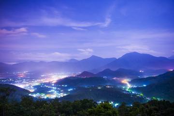 Beautiful mountains night in Nantou in Taiwan