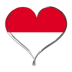 Indonesia 3D heart shaped flag