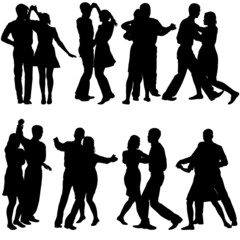 Black silhouettes Dancing on white background. Vector illustrati