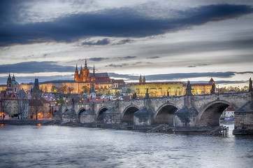 Old Town of Prague (Czech Republic) in the sunset