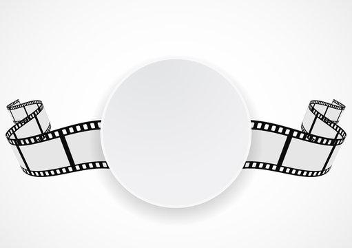 film reel strip round label banner