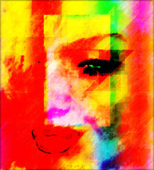 Colorful abstract digital art of a woman's face, close up. Modern art style.
