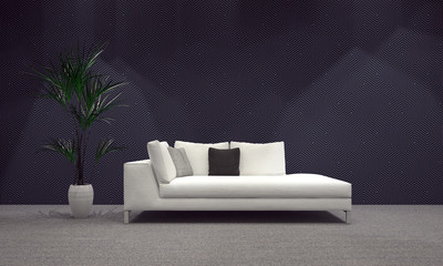 Modern Living Area with Sofa and Plant on Vase
