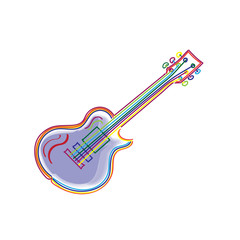 Bright colorful stylized sketch of modern electric guitar