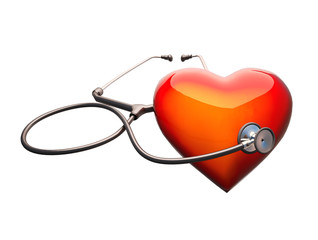 Stethoscope on the heart.