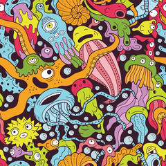 Wall Mural - Deep sea monsters seamless pattern