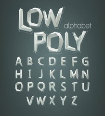 low poly alphabet font. Vector illustration