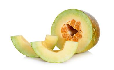 Thai cantaloupe melon isolated on the white background