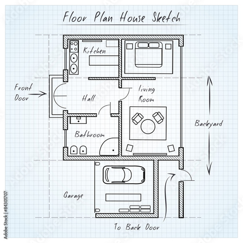 "Floor plan house sketch"" Stock image and royalty free vector files"
