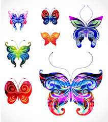 Set of vector butterflies. EPS10
