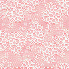 Seamless floral white lace pattern. Repeating background.