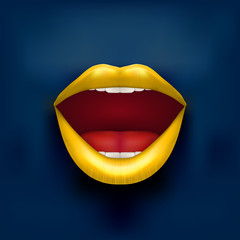Dark Background of Womans mouth with open lips.