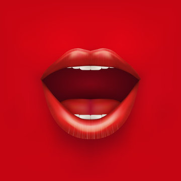 Background of Womans mouth with open lips.