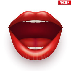 Womans mouth with open lips.