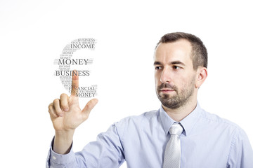 """Young buinessman touching """"Earn Money"""" word cloud"""