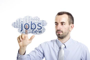 """Young buinessman touching """"New Jobs"""" word cloud"""