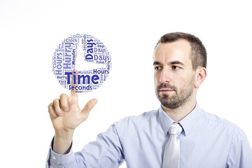 """Young buinessman touching """"Time Management"""" word cloud"""