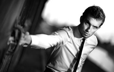 Fototapeta handsome guy in a suit obraz