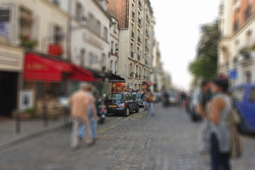 Abstract background. Boulevard Montmartre in Paris - radial zoom