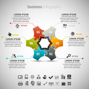 Business infographic made of puzzle.