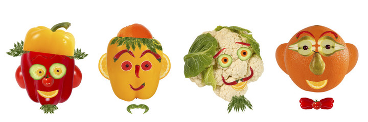 Creative set of food concept. A few  funny portraits from vegeta