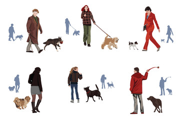Dogs and humans motif design elements