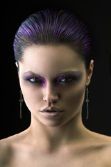 woman with violet make-up