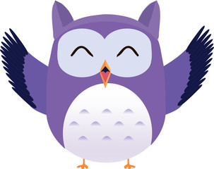 Happy cute vector purple owl