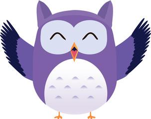 Happy cute vector purple owl