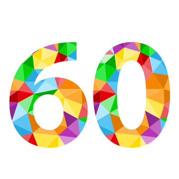 """VECTOR POLYGON PATTERN NUMBER ICONS """"60"""""""