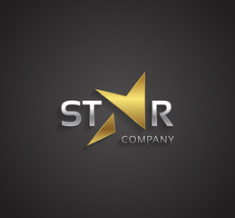 Vector graphic golden and silver elegant star symbol