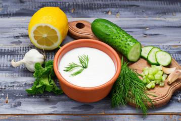 Ingredients for tzatziki sauce – yogurt, cucumber, mint, dill,