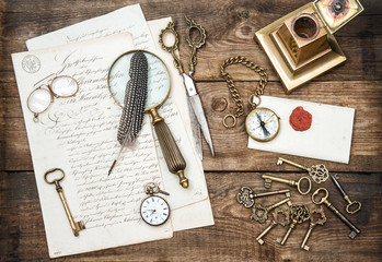 Antique office supplies, writing accessories and old keys
