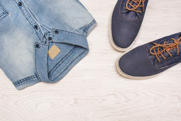 jean clothes on wood