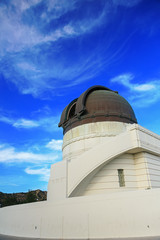 Griffith observatory with blue sky
