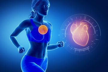 Running woman focused on heart