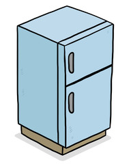 blue refrigerator