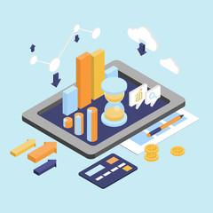 Flat 3d Isometric Business Finance Analytics, Chart Graphic